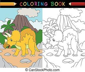 livre, coloration, triceratops, dessin animé