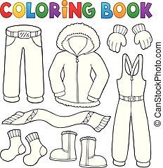 livre coloration, vêtements hiver, topic, ensemble, 1