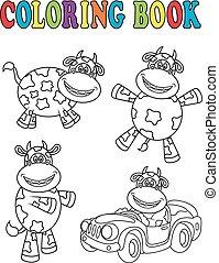 livre coloration, vache, dessin animé