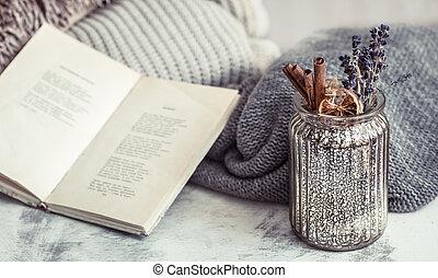 livre, composition, vase
