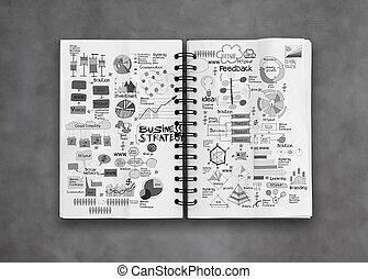 livre, concept, business, reussite, stratégie