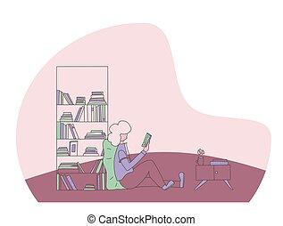 livre, concept., couleur, lecture, vecteur, design.