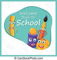 livre, concept, objet, dos, autre, école, papeterie, stylo, crayon