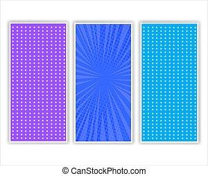 livre, couleurs, comique, bleu, ensemble, gabarits