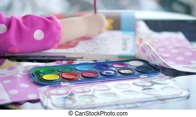 livre, créativité, palette, peinture, fond, coloration, pinceau, enfants