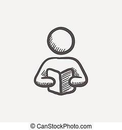 livre croquis, lecture, icône, homme