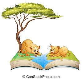livre, de, lions, vivant, par, les, rivière