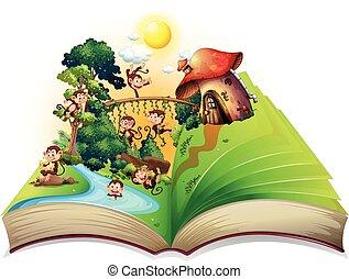 livre, de, singes, vivant, par, les, rivière