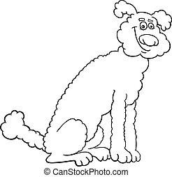 livre, dessin animé, coloration, caniche, chien