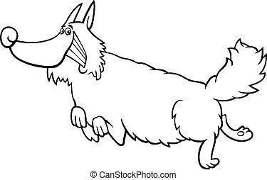 livre, dessin animé, coloration, chien, poilu