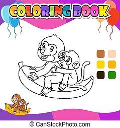 livre, dessin animé, coloration, singe, banane, équitation