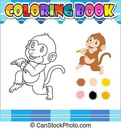 livre, dessin animé, coloration, singe, tenue, banane