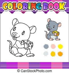 livre, dessin animé, coloration, tenue, fromage, souris