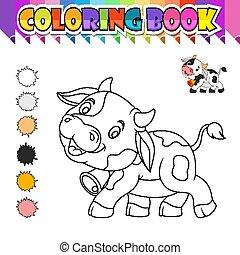 livre, dessin animé, coloration, vache, mignon