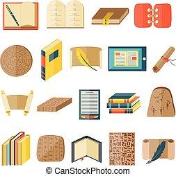 livre, dessin animé, icônes, included, normal, typographie,...