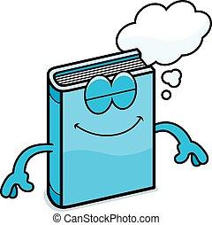 livre, dessin animé, rêver