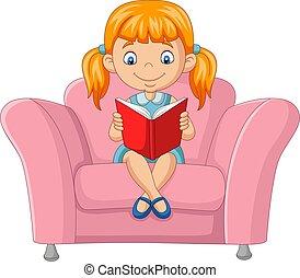livre, dessin animé, séance, peu, lecture, sofa, girl