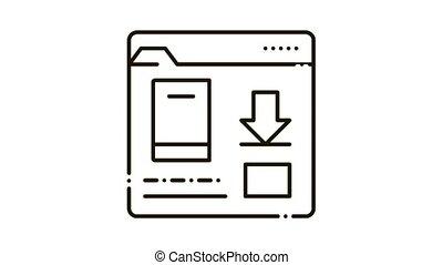 livre, dossier, icône, téléchargement, animation