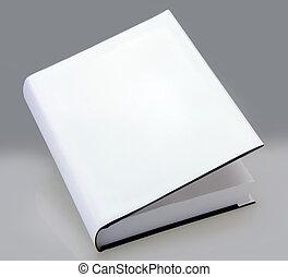 livre, dur, couverture, blanc, uni