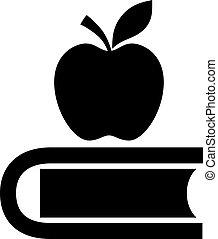 livre, education, pomme, icône