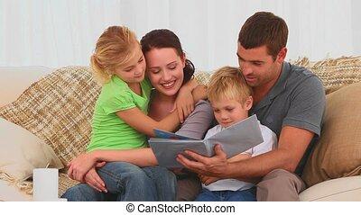 livre, enfants, famille, lecture