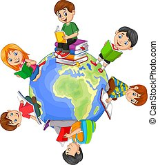 livre, enfants, mondiale, autour de, lecture