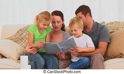 livre, ensemble, famille, lecture