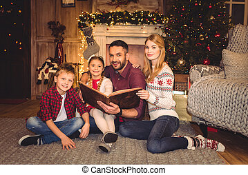 livre, famille, heureux