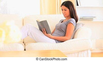 livre, femme, beau, lecture