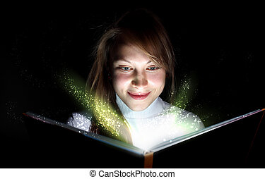 Livre, femme, magie, jeune, lecture