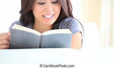 livre, femme, sérieux, lecture