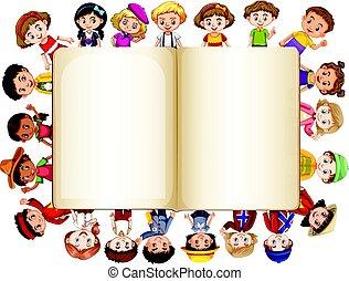 livre, frontière, enfants, gabarit, vide