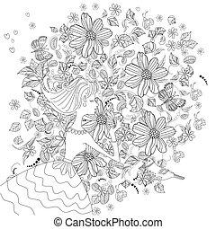 livre, girl, coloration, fleur, joli