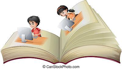 livre, girl, ordinateurs, garçon, ouvert