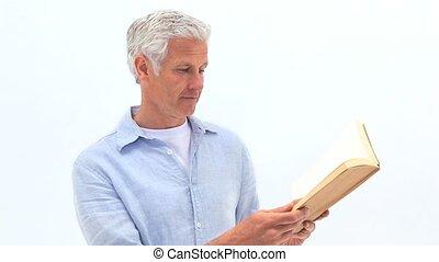 livre, homme mûr, lecture