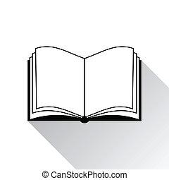 livre, icône, blanc, fond