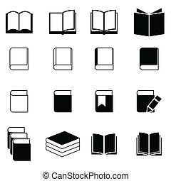 livre, icône, ensemble