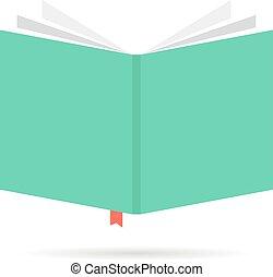livre, icône, signet, vert