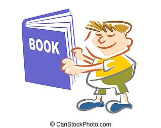 livre, -, illustration, gosse