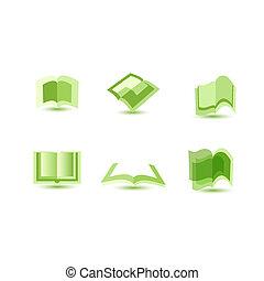 livre, illustration, icônes