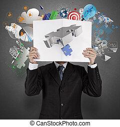 livre, industries spectacle, homme affaires, noir, couverture, main, association