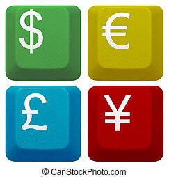 livre, informatique, yen symbole, dollar, isolé, monnaie, ensemble, clã©, clavier, euro
