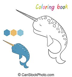 livre, jeu, narwhal, coloration, disposition, gosses