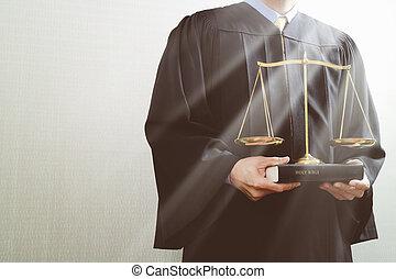 livre, justice, droit & loi, mâle, saint, concept., salle audience, juge, balance équilibre