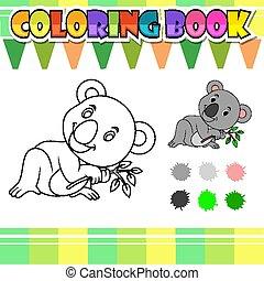 livre, koala, dessin animé, coloration, mignon