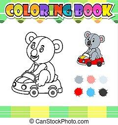 livre, koala, dessin animé, coloration, voiture, équitation