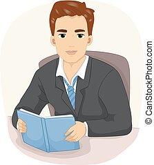livre lecture, bureau, homme