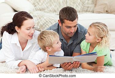 livre, lecture, famille, papa, sien
