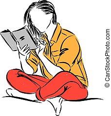 livre lecture, femme, vecteur, illustration
