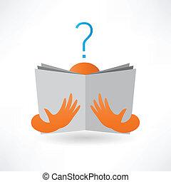livre lecture, homme, icône